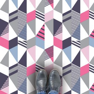 Geometric Cibic pattern vinyl flooring from forthefloorandmore.com