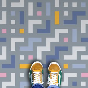 Camden vinyl floor covering pattern - an abstract geometric colourful design exclusive from forthefloorandmore.com