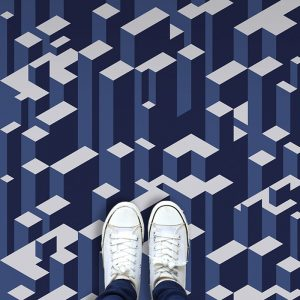 Image of Vertx geometric pattern as a 3D Vinyl Flooring available at forthefloorandmore.com