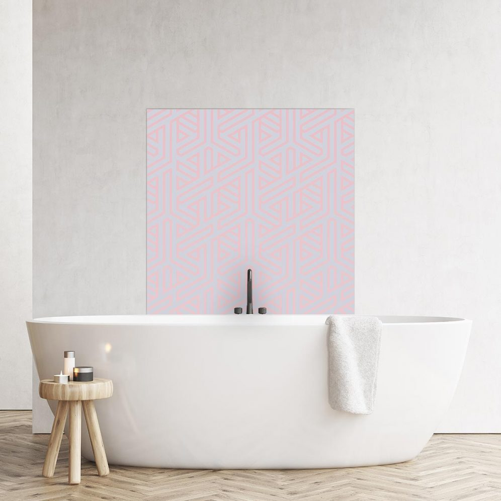Image of geometric patterned bath backsplash panel