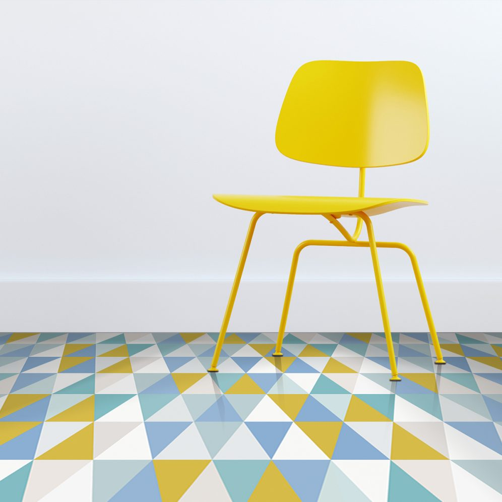 Image of geometric vinyl flooring designed by Mort & Hex available from forthefloorandmore.com